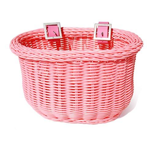 colorbasket Fahrradkorb für Kinder, wasserabweisend, Lederriemen, Unisex-Erwachsene, Kid\'s Front Handlebar Bike Basket, Rose, Pink