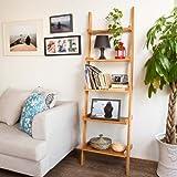 SoBuy® FRG17-B-N, Modern 5 Tiers Bamboo + MDF Ladder Shelf, Display Storage Wall Shelf Bookcase