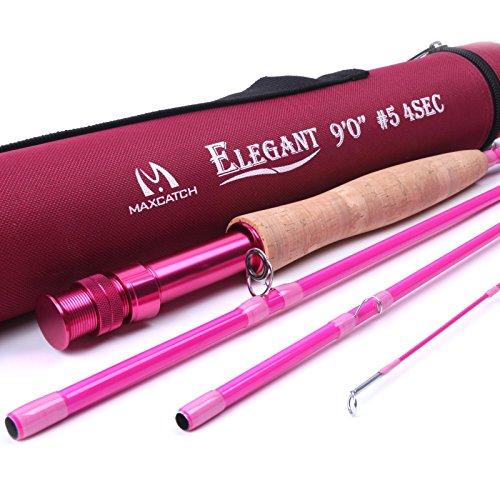 Maxcatch Elegante rosa Fliegenrute für Lady 9' 5weight mit Rod Tube