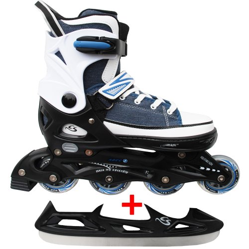 Cox Swain Sneak Kinder Inline Skates & Kinder Schlittschuh 2 in 1 - größenverstellbar ABEC5, Colour: blue, Size: L (40-43)