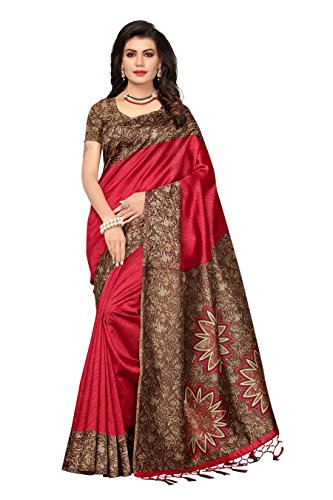 Ishin Art Silk / Blended Mysore Silk Red Printed Women\'s Saree/Sari With Tassels
