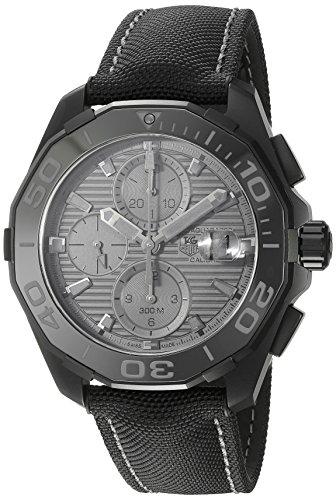 TAG Heuer uomo 'aquaracracer' Svizzero Automatico in titanio e orologio, in tela, colore: nero (modello: cay218b.fc6370)