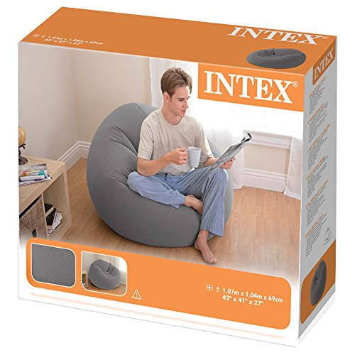 Intex Beanless Bag Inflatable Chair, Grey