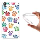 Funda Huawei Y6 II - Huawei Honor 5A, WoowCase [ Huawei Y6 II - Huawei Honor 5A ] Funda Silicona Gel Flexible Huellas Perro, Carcasa Case TPU Silicona