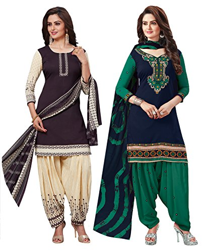 Ishin Combo of 2 synthetic Multicolor Printed Unstitched Salwar Suit Dress Material With Synthetic Dupatta