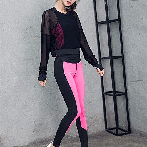 Beatayang Femme Ensemble de Sport Gym Yoga Suit Fitness Jogging Soutien-gorge Sans Armature Survêtement Leggings Pantalon + Bra + T-shirt Rose