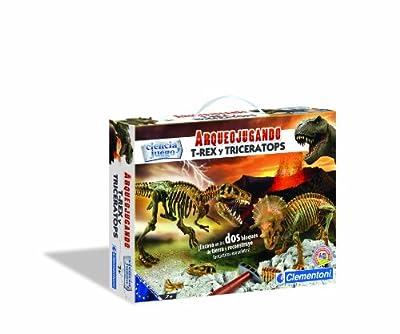Clementoni- Arqueojugando T-Rex y Triceratops de Clementoni iberica