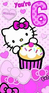 Gifts 4 All Occasions Limited SHATCHI-938 - Tarjeta de felicitación de cumpleaños, diseño de Hello Kitty de 6 años