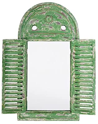 Esschert Design WD12 39 x 5 x 55cm Wood and Glass Mirror Louvre Distressed - Green produced by Esschert - quick delivery from UK.