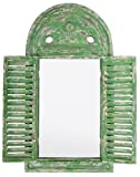 Esschert Design WD12 39 x 5 x 55cm Wood and Glass Mirror Louvre Distressed - Green