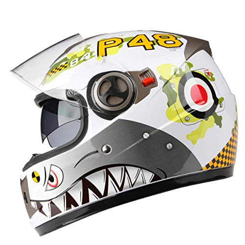Casco moto off-road per uomo e donna Full-cover Four Seasons Casco integrale universale per visore integrale con visiera incorporata (Colore : White bomber)