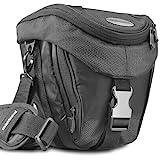 Mantona Colt Kameratasche (Universaltasche inkl. Schnellzugriff, Staubschutz, Tragegurt und Zubehörfach, geeignet für DSLR- und Systemkameras) schwarz/metallic