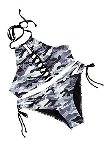 FUTURINO Damen Sommer Schnürung Neckholder Lace Up Hohe Ausschnitt Schwarz Bikini Set Bademode (Small, Graue Tarnung) -