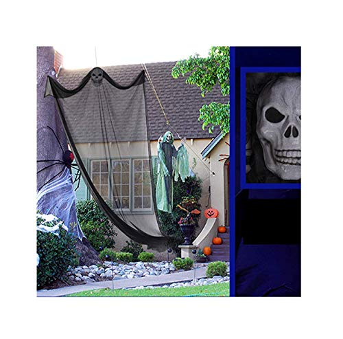 Geisterhaus Hängend Gaze Dekorations Horrible Halloween Party Deko (Schwarz) ()