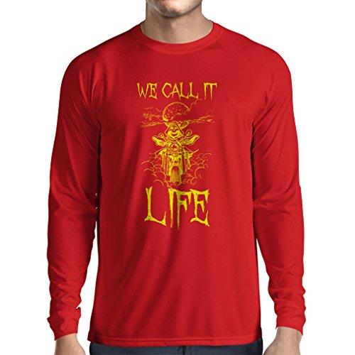 lepni.me T-Shirt Manica Lunga da Uomo Abbigliamento Moto (XX-Large Rosso