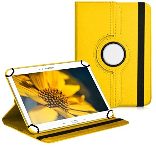 Premium Universal-Hülle für Tablet-PC Blaupunkt Endeavour 1000 QC 10 ZOLL mit DREHFUNKTION und HALTER / STÄNDER-FUNKTION Schutz-Case Flip-Tasche Cover Gelb