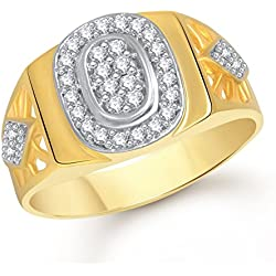 Meenaz Ring For Men Gold Plated In American Diamond Cz FR456 Ring size -22