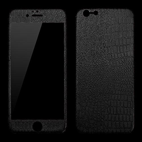 Pellicola Protettiva iPhone 6 Plus / iPhone 6S Plus, VemMore Anteriore e Posteriore Trasparente Proteggi Schermo Vetro Temperato con Stripe in Pelle Coccodrillo Cover Protezione per iPhone 6 Plus / iP Nero