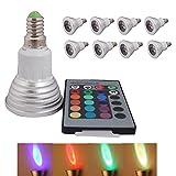 8 Stück 3W E14 RGB LED Lampe multicolor Glühbirne / Glühlampe mit Ferbedienung, Farbwechsel 16 Farben Auswahl, LED Leuchtmittel, LED Birnen
