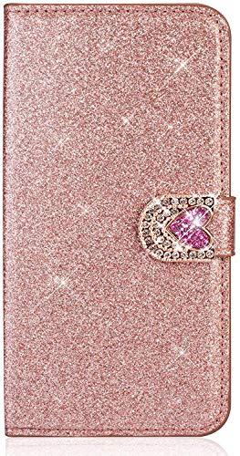 Uposao Custodia Compatibile con Samsung Galaxy A5 2016 Cover in Pelle Amore Cuore Glitter Paillette Luccichio Portafoglio Porta Carta Guscio Caso Case Protettiva Cellulari per Ragazza,Oro rosa