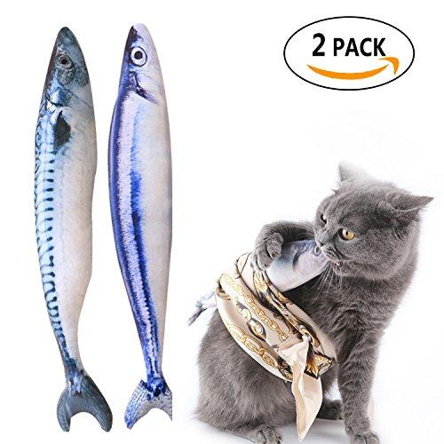 Spielzeug mit Katzenminze Katze Fisch Kissen Katzenminze Fisch Interaktives Katzenspielzeug Simulation Plüsch Fisch Form 2 Stück