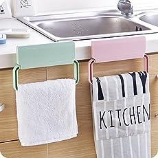 Divinezon self-Adhesive Plastic Towel Rack Cabinet Cupboard Door Cloth Holder Bathroom Storage Rack Kitchen Accessories - Random Color