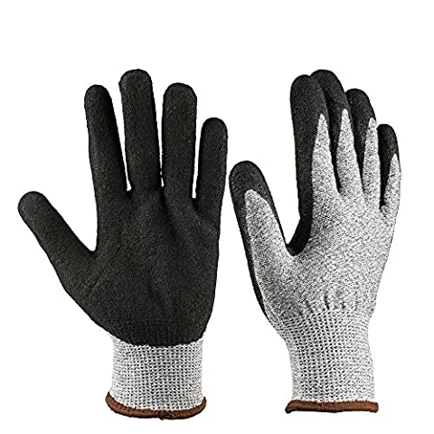 OZERO Cut Resistant Gloves with CE Level 5 Protection - Nitrile Coated Garden Work Gloves - Durable, Non-slip for Kitchen/Gardening/Farm/Wood Cutting - Dexterity for Men & Women, 1 Pair (Gray,