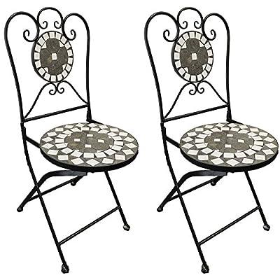 Mosaik Gartenstuhl 2X Balkonstuhl Terassenstuhl klappbar Kreis Design Klappstuhl Bistrostuhl Mosaikstuhl Anthrazit/Grau von Mojawo auf Gartenmöbel von Du und Dein Garten