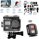 Waterproof Sports Action Camera 4K WiFi 2.0In Diving 30M Ultra 140 Adjustable Wide Angle Lens LCD Display With Remote Control Accessory