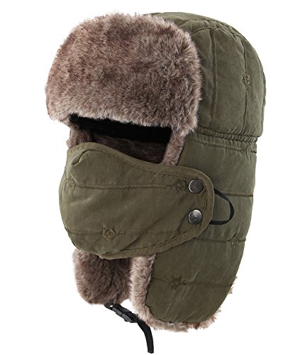 9c21713175b5b Decentron Warm Trapper Hat Windproof Winter Russian Aviator Hats with Mask  Ushanka Hat (Army Green