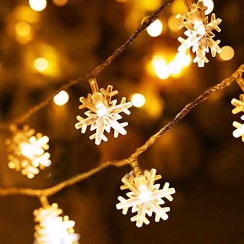 (Schneeflocke Schnur Lichter,KINGCOO 33Ft/10M 80LED Lichtervorhang Lichterkette Weihnachtsschneeflocke Batteriebetriebene Dekorative Feenhafte Schnur Beleuchtet Mit 2 Modi für Innenhalloween Partei Hof Weihnachtsbeleuchtung (Warmweiß))