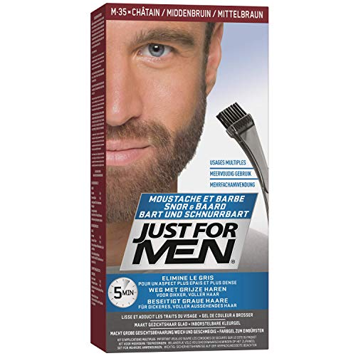 Just For Men, Gel colorante per barba e baffi, con applicatore a pennello, colore: Marrone medio
