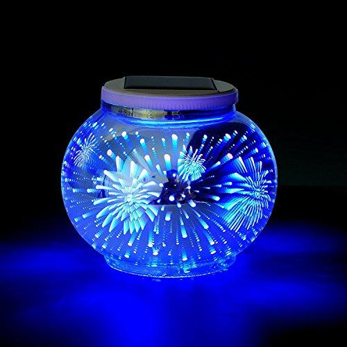 Solar 3D licht, SUAVER Mosaik Ball Lampe Farbwechsel Nachtlicht, Mehrzweck Wasserdichter LED Gartenleuchten,Tischlampe Stimmung Licht Party Deko Lampe für Garten, Patio, Tabelle, Zimmer, ideales Geschenk (Feuerwerk)
