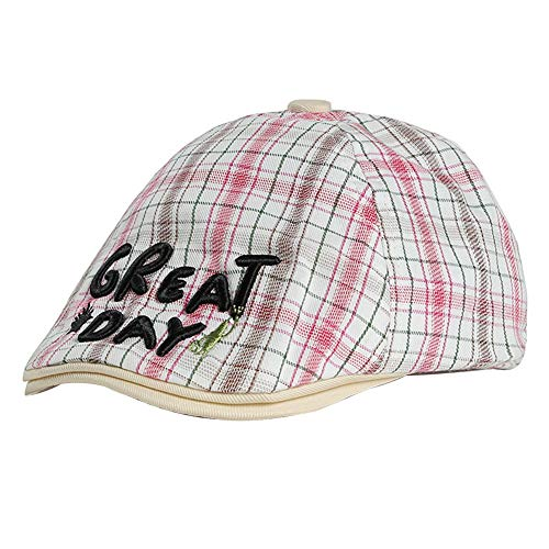 Filfeel Mode Stickerei Plaid Baumwolle Baskenmütze Cap Zeitungsjunge Flat Hat für Kinder Kinder Brief(Weiß) Plaid Trapper