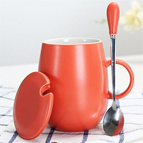 WanJiaMen'Shop Tasse en Céramique avec Couvercle Cuillère Mark Coupe Étudiant Bureau Eau Tasse café Coupe Couple Tasse de Lait Tasse 11.3 * 12cm Orange
