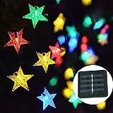 Catene Luminose Stella Solare Luci,KINGCOO Impermeabile 23FT 50LED Solare Fata Stella Scintillio Luci a Corda per Natale Festa Casa All'aperto Nozze Giardino Decorazione (Multicolore)