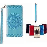 MUTOUREN Portemonnaie Handyhülle für Samsung Galaxy S5 PU Lader Brieftasche Klapphülle Bookstyle Wallet Flip Case mit Standfunktion Kartenfach Fall-Abdeckung Ultradünne Kratzfeste Stoßdämpfende Telefonkasten Geprägtes Muster indische Mandala Blau + Metall Stylus Stift