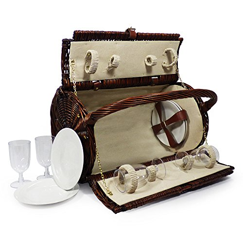 Traditionnel panier pique-nique « Stamford » pour 4 personnes - L'idée de cadeau idéal pour un anniversaire, mariage, anniversaire