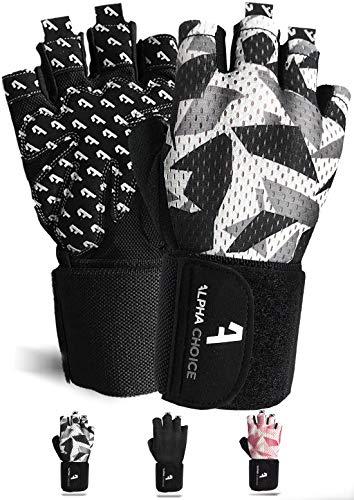 Alphachoice Performance Fitness Handschuhe Damen und Herren mit Handgelenkschutz - Trainingshandschuhe für Krafttraining, Bodybuilding, Gewichtheben (XL, Camouflage)