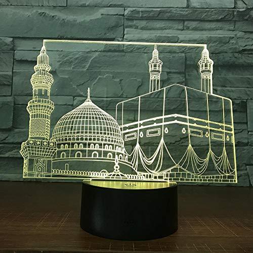 CYJQT 3D Nachtlichter Kinder Emotion Lampen Led Nachtlicht Tempel Schloss Palast Farbwechsel Familie Schlafzimmer Dekoration Moschee Lampara Nachtlichter Für Muslim Ramadan Geschenk Lichter