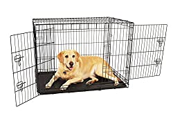 Carlson Pet Products Compact & Secure Double Door Metal Dog Crate, Large, Black