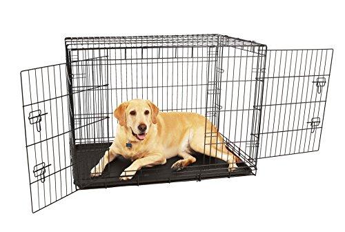 Carlson Pet Products Hundekäfig, kompakt und sicher, Doppeltür, Metall, groß, Schwarz