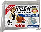 Neusu Large Roll Up Travel Vacuum Bags - 6 Pack - Premium Quality 80 Micron Storage Bags - 40cm x 60cm