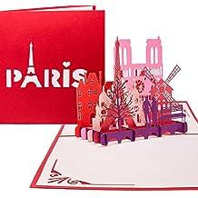 """Pop Up Karte """"Paris - Je t'aime"""" - 3D Klappkarte Paris & Eiffelturm, Reisegutschein & Geschenkgutschein, 3D Karte Städtetrip & Hochzeitsreise Paris"""