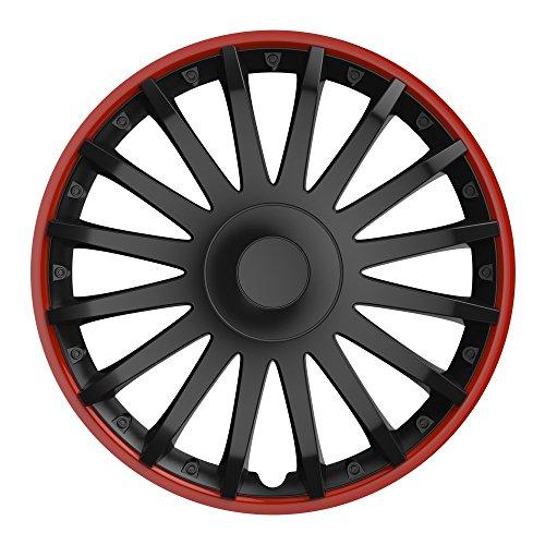 16 Zoll Radzierblenden CRYSTAL RO (Schwarz und Rand in Rot). Radkappen passend für fast alle OPEL wie z.B. Astra J