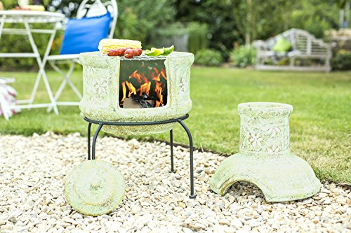 Star Flower Clay Chiminea & Grill Small