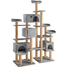 TecTake Árbol rascador para gatos 214 cm de altura | 4 plataformas de observación | 4 cómodas madrigueras | gris
