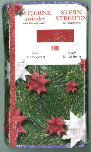 Fröbel-Stern-Streifen mit Faltanleitung 15 mm rot, 500 Stück