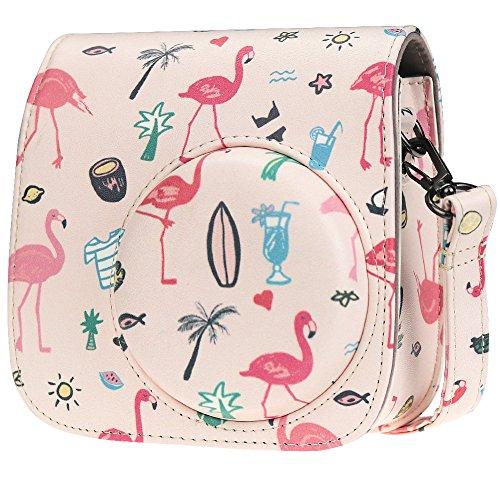 Cpano Mini PU Leder Kameratasche mit Verstellbarem Schultergurt für Fujifilm Instax Mini 8 8+ 9 Instant Film Kamera (Rosa Flamingo)