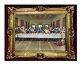 Made in Italy Barock Gemälde Bild mit Rahmen Repro Antik Look Jesus 12 APOSTEL Ultima Cena 90x70 Gold